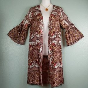 NWT Angie Kimono brown floral boho layering top S